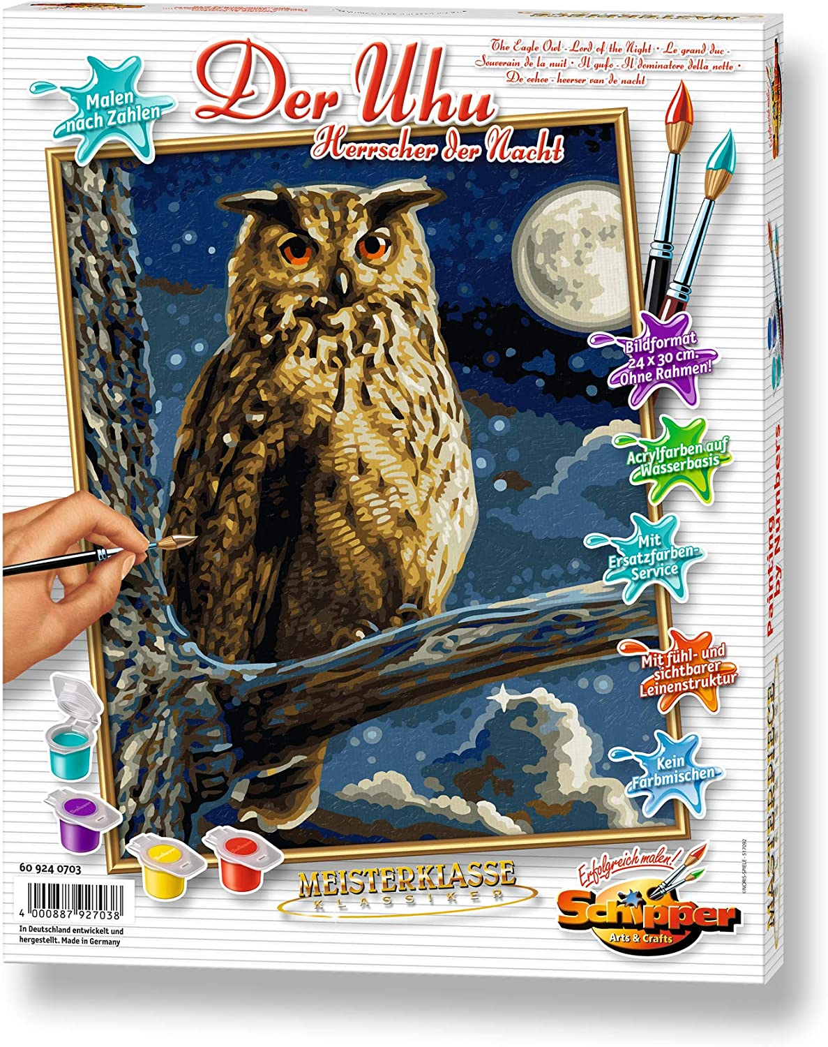 Schipper 609240703 The Eagle Owl Master of Night Paint by Numbers Board