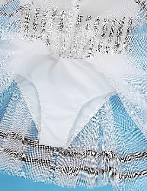 Freebily Vestito Ballerina Bambina Carnevale Tutu Danza Classica Balletto Abito Pattinaggio Artistico sul Ghiaccio Abito da Ballo Moderno Latino Body Ginnastica Artistica