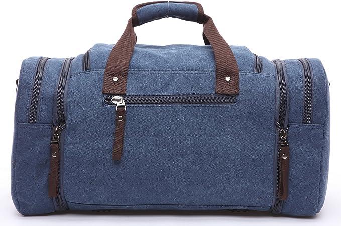 Aidonger Vintage Canvas Weekender Bag Travel Bag Sports Duffel with Shoulder Strap Canvas Duffel Bag Black-21