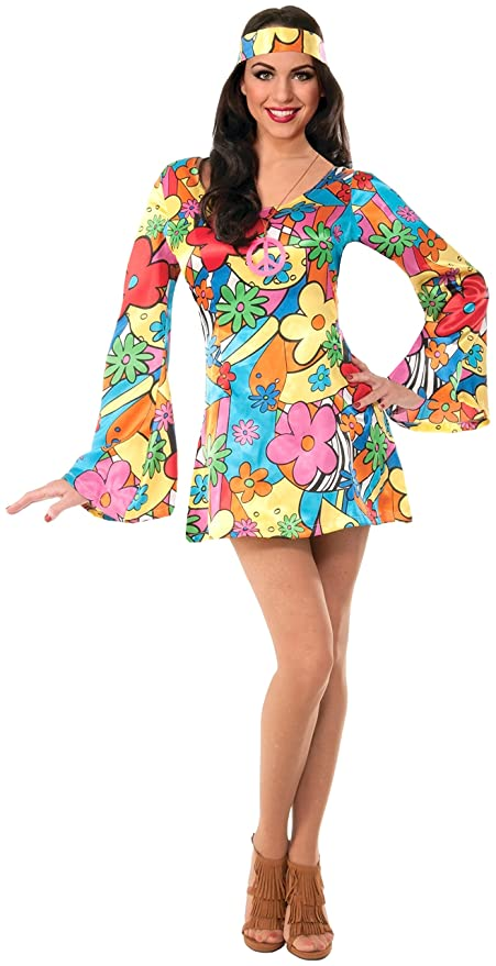 Hippie Costumes, Hippie Outfits Forum Novelties Womens Hippie Costume Groovy Go-Go Dress $13.57 AT vintagedancer.com