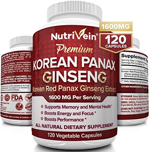 Nutrivein Pure Korean Red Panax Ginseng 1600mg – 120 Vegan Capsules – High Strength 5 Ginsenosides – Ginseng Root Extract Powder for Energy, Potency, Libido, Vigor and Focus for Men and Women