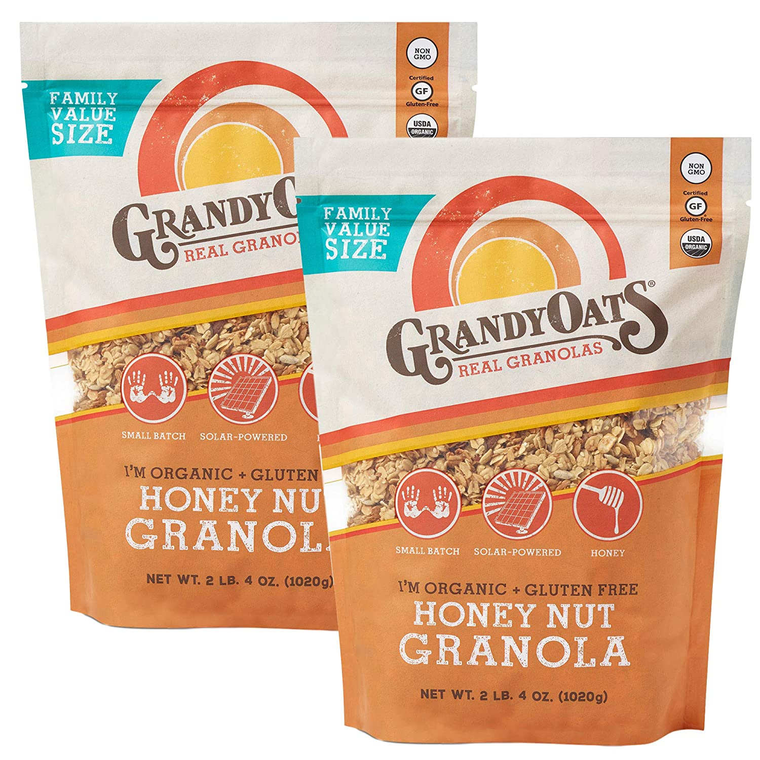 GrandyOats Honey Nut Gluten Free Granola - Certified Organic, Non-GMO, Family Value Size 36oz Bags, Bulk Pack of 2