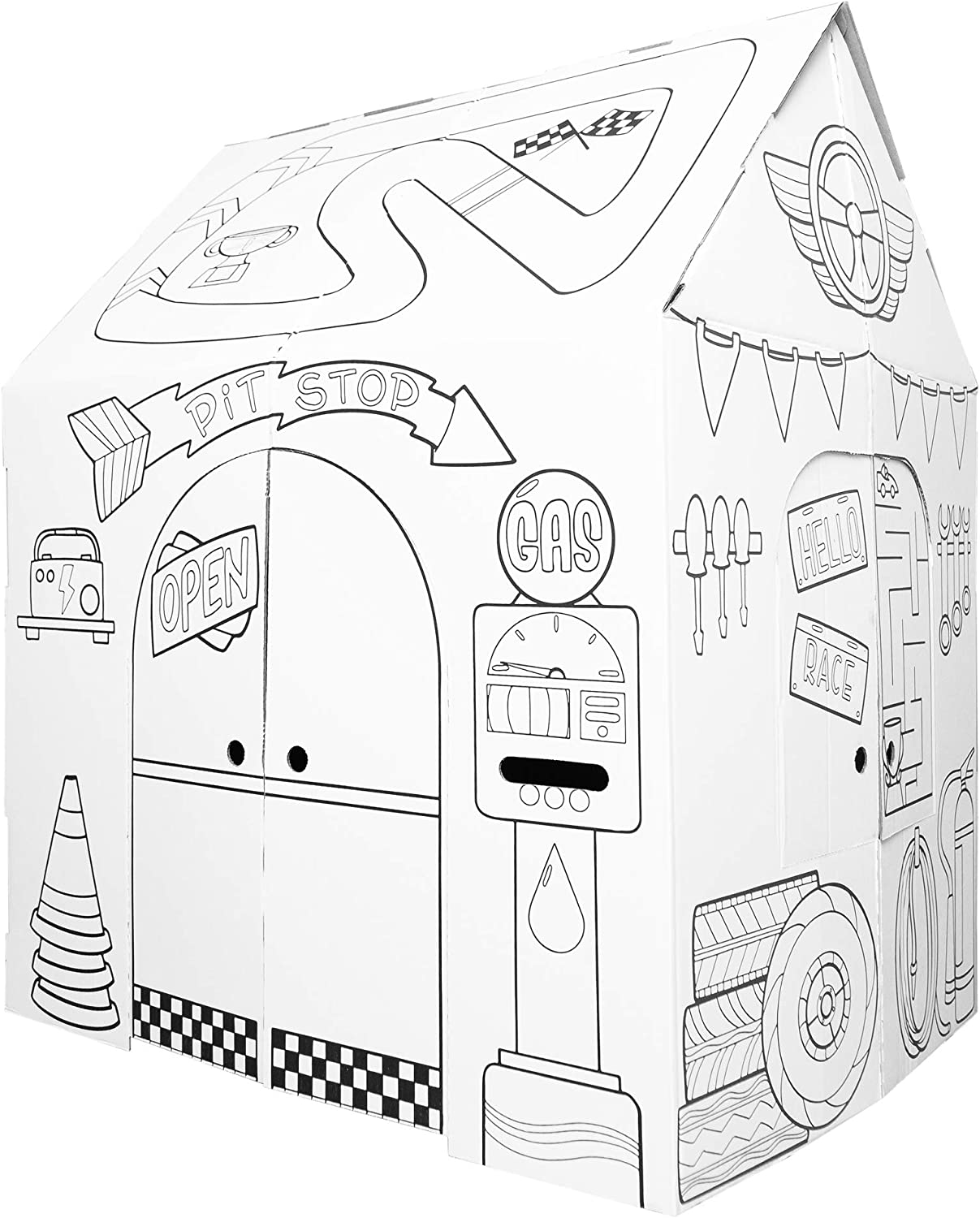 Amazon Com Easy Playhouse Garage Kids Art Craft For Indoor Outdoor Fun Color Favorite Garage Items Decorate Personalize A Cardboard Fort 32 X 26 5 X 40 5