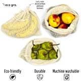 Eco Gro. - Reusable Cotton Mesh Produce Bags - Organic Cotton, Durable, Double Stitched, Washable | 7 PCE Set | Australian Owned