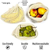 Eco Gro. | Reusable Cotton Mesh Produce Bags - 100% Organic Cotton, Durable, Double Stitched, Washable with Tare Weight & Drawstring - Mesh Bags for Grocery Shopping, Vegetables & Fruits | 7 Bags (2L, 2M, 2S & 1 Storage Bag) | Australian Owned