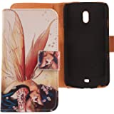 Lankashi PU Housse Cuir Cover Coque Case Etui Flip Protection Pour Samsung Galaxy Nexus i9250 Wing Girl Design