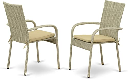 East West Furniture Patio Dining Arm Chair with Natural PE Wicker Set of 2