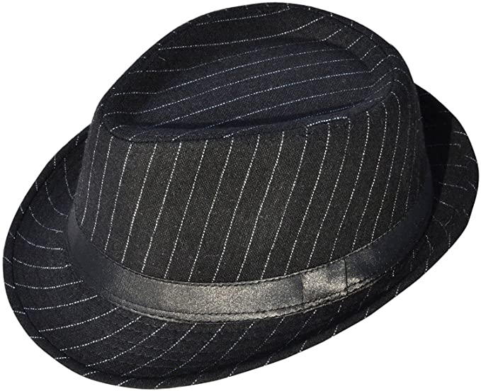 21d70466a152f6 Simplicity Mens Cool Teardrop Crown Fedora Trilby Hat Pinstripe with Black  Band