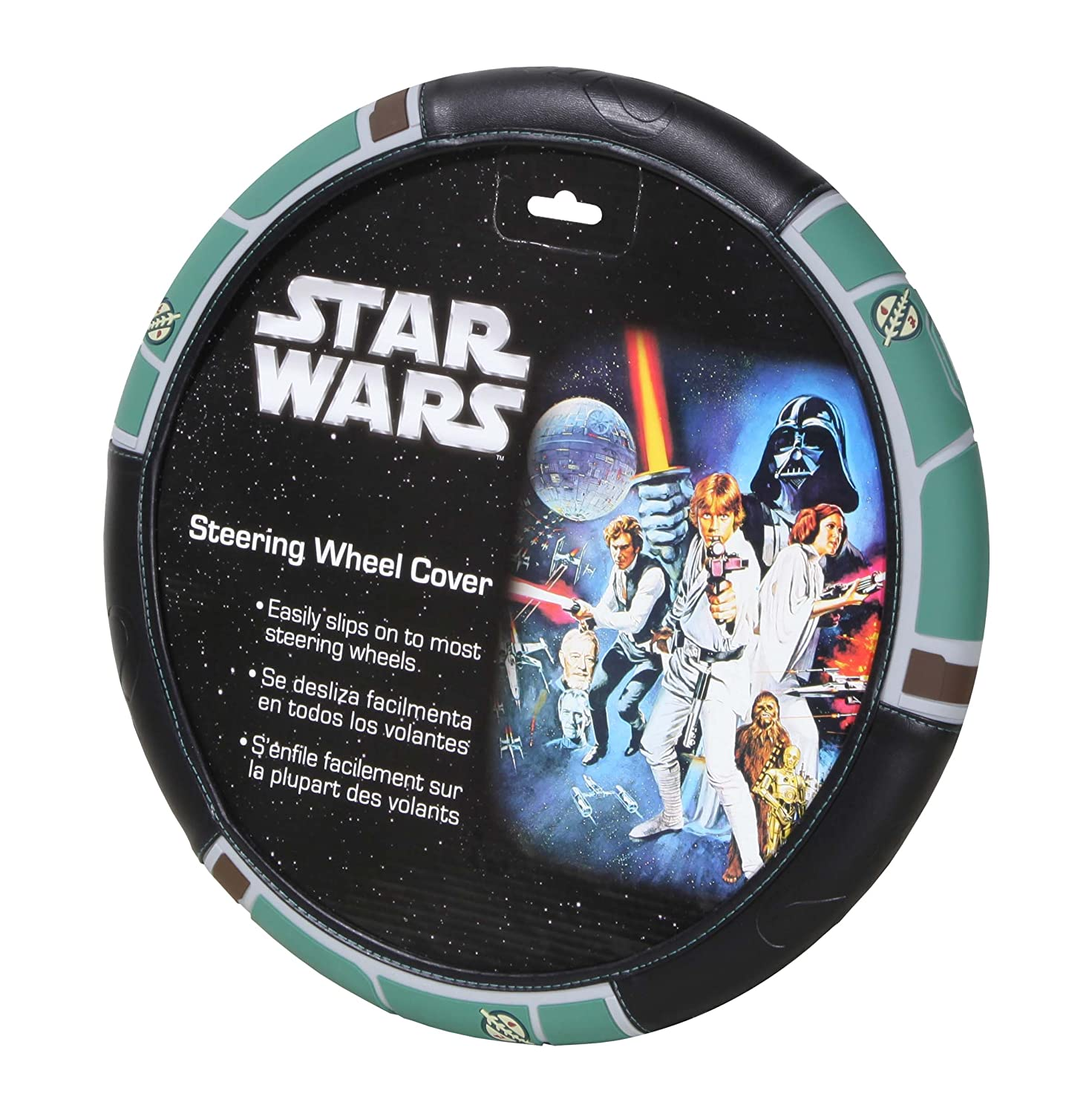 Plasticolor 006762R01 Black Steering Wheel Cover (Star Wars Boba Fett)