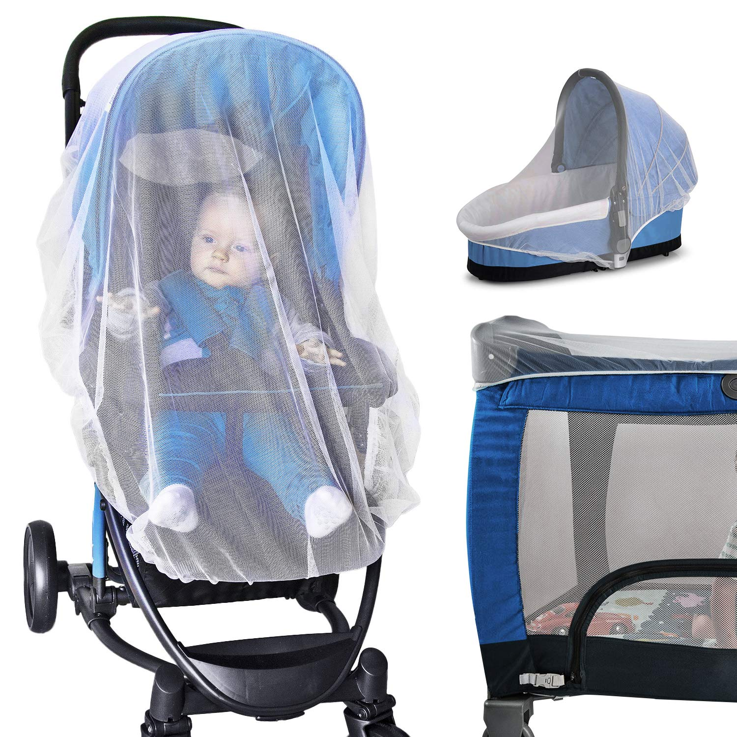 Baby Ziz Drawstring Baby Mosquito Net for Stroller White Insect Mesh Netting Cover with Universal Fit Pack and Play Baby Travel Gear for Outdoor Bug Protection Infant Carrier Car Seat Bassinet