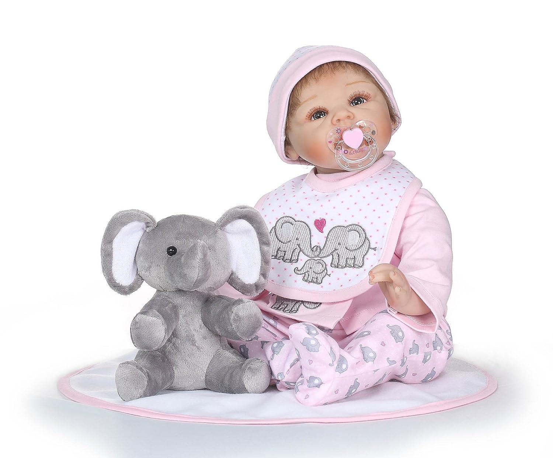 """面白い家22 """" 55 cmハンドメイドReborn Toddler人形Lifelike RealisticソフトVinylシリコンSimilar to A Baby Newborn Doll Real Gentle Touch誕生日Xmas Present Bedtime Play for Age 3 +   B07DFHHHTP"""