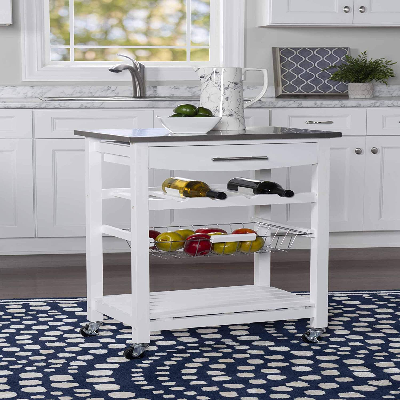 Linon Home Décor Kitchen Cart White
