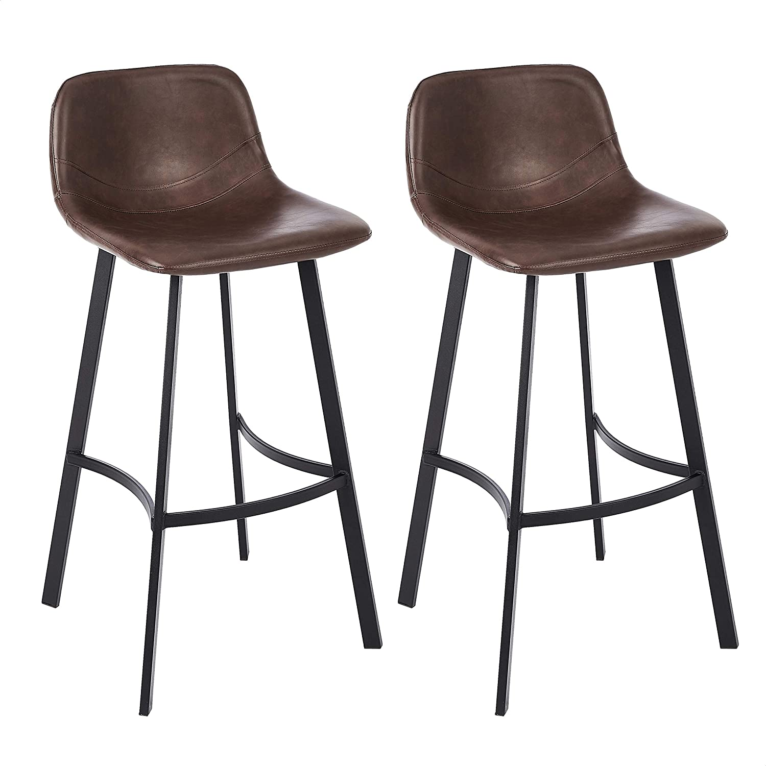 Brown Set of 2 CangLong Faux Leather Height Chair Armless Indoor Kitchen Barstool with Metal Legs Upholstered