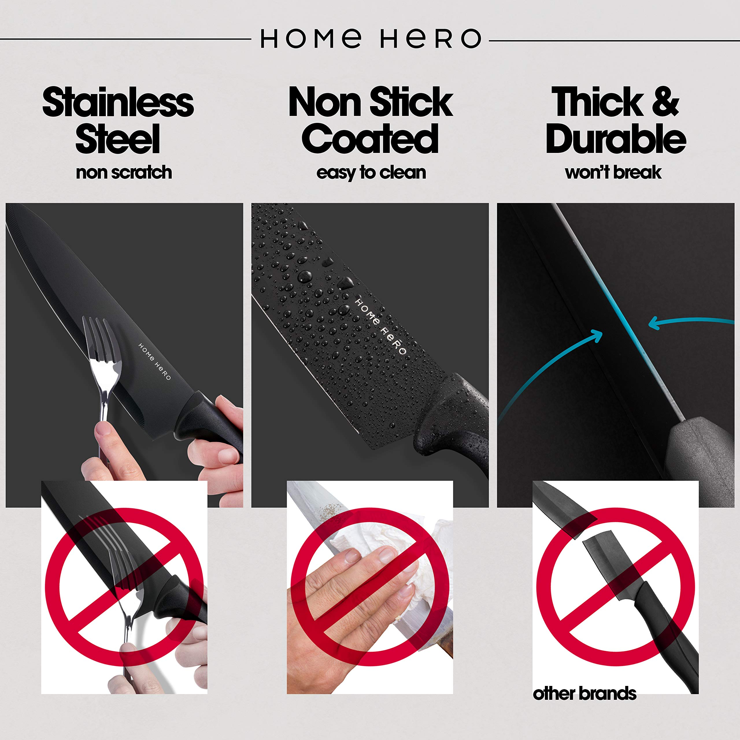 Chef Knife Set Knives Kitchen Set - Kitchen Knives Set Kitchen Knife Set with Stand - Plus Professional Knife Sharpener - 7 Piece Stainless Steel Cutlery Knives Set by HomeHero by HomeHero (Image #4)