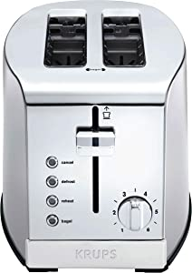 KRUPS KH732D50 2-Slice Toaster, Stainless Steel Toaster, 5 Functions with Cancel, Toasting, Defrost, Reheat and Bagel, Cord Storage, Silver