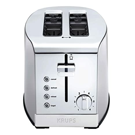 Krups Kh732d50 2 Slice Toaster Stainless Steel Toaster 5 Functions With Cancel Toasting Defrost Reheat And Bagel Cord Storage Silver