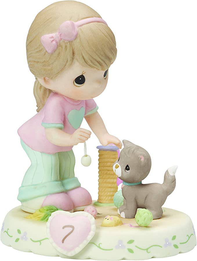 Age 5 Girl Bisque Porcelain Figurine  Brunette Precious Moments 152011B Growing In Grace