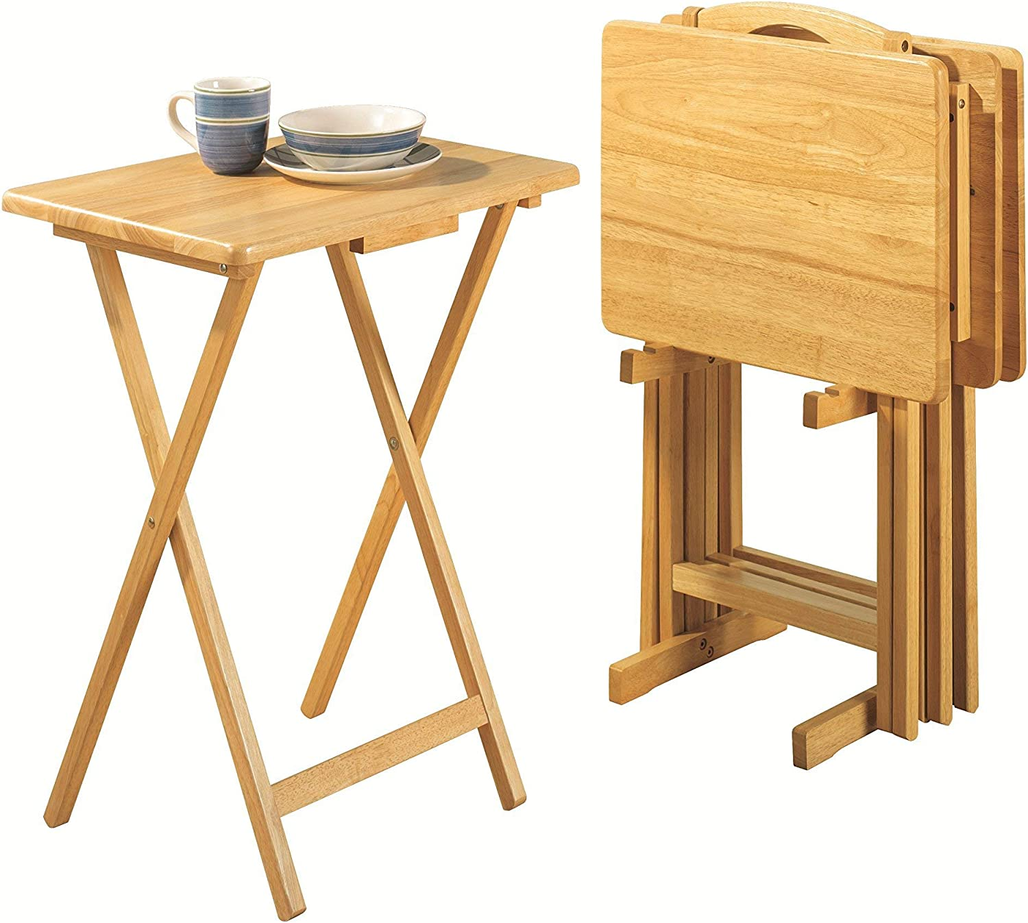 - Amazon.com: PJ Wood Folding TV Tray Table & Snack Table With