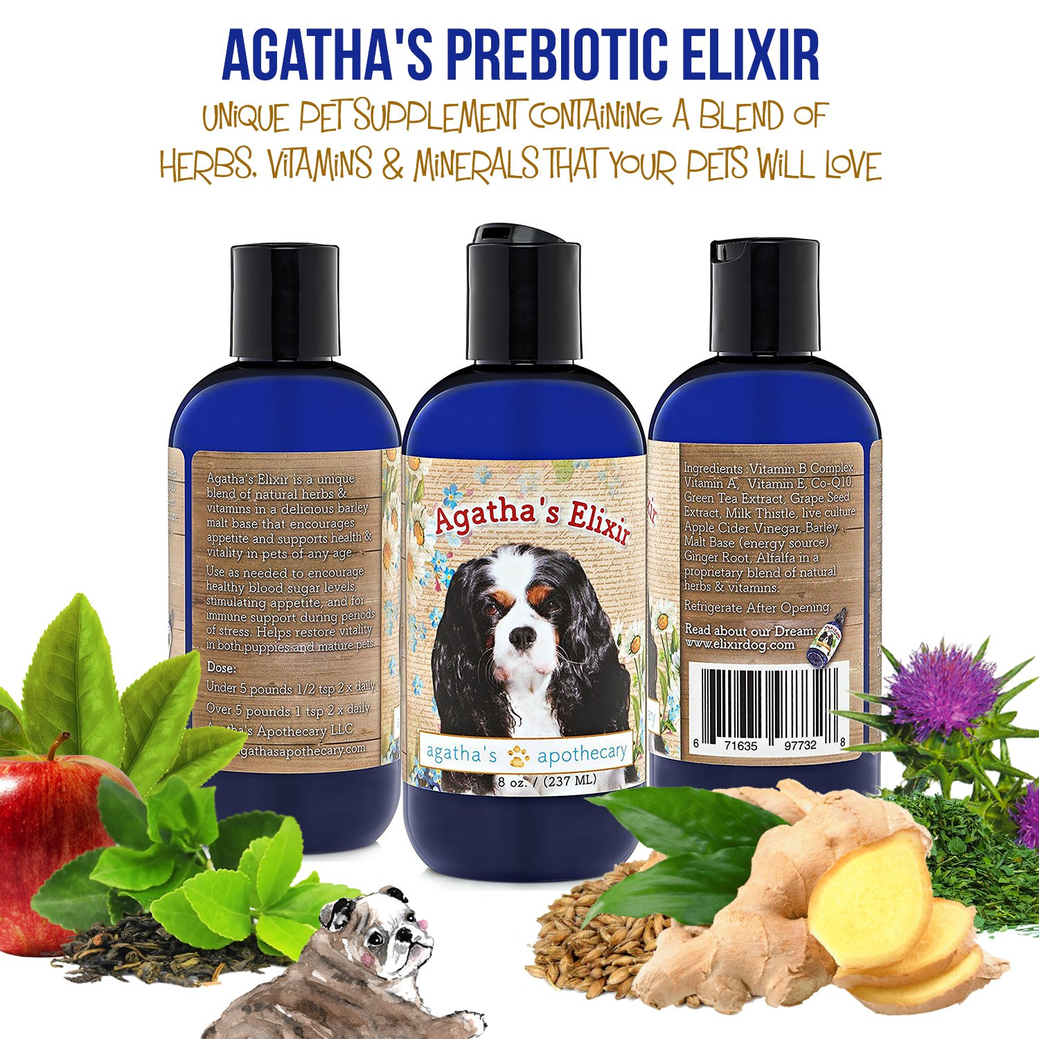 Agatha's Elixir Prebiotics for Dogs ● Appetite Stimulant for Picky Eaters and Senior Pets ● Green Tea & Milk Thistle Boost Immune System, Liver Detoxifier by Agatha's Pet Wellness (Image #9)