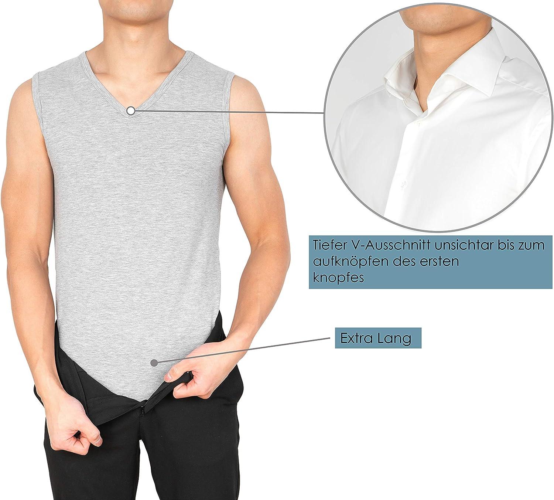 MCs Goods Camiseta interior para hombre 3 unidades, cuello en V, sin mangas, el/ástica, tallas S - XXL
