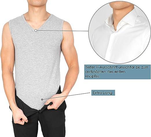 sin mangas tallas S a XXL en blanco el/ástica con cuello de pico 3 unidades de 95//5 algod/ón//elastano negro y gris MCs Goods Camiseta interior para hombre