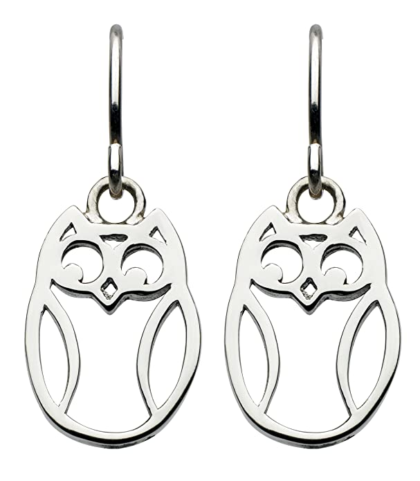 Dew Sterling Silver Owl Drop Earrings tfkaq6
