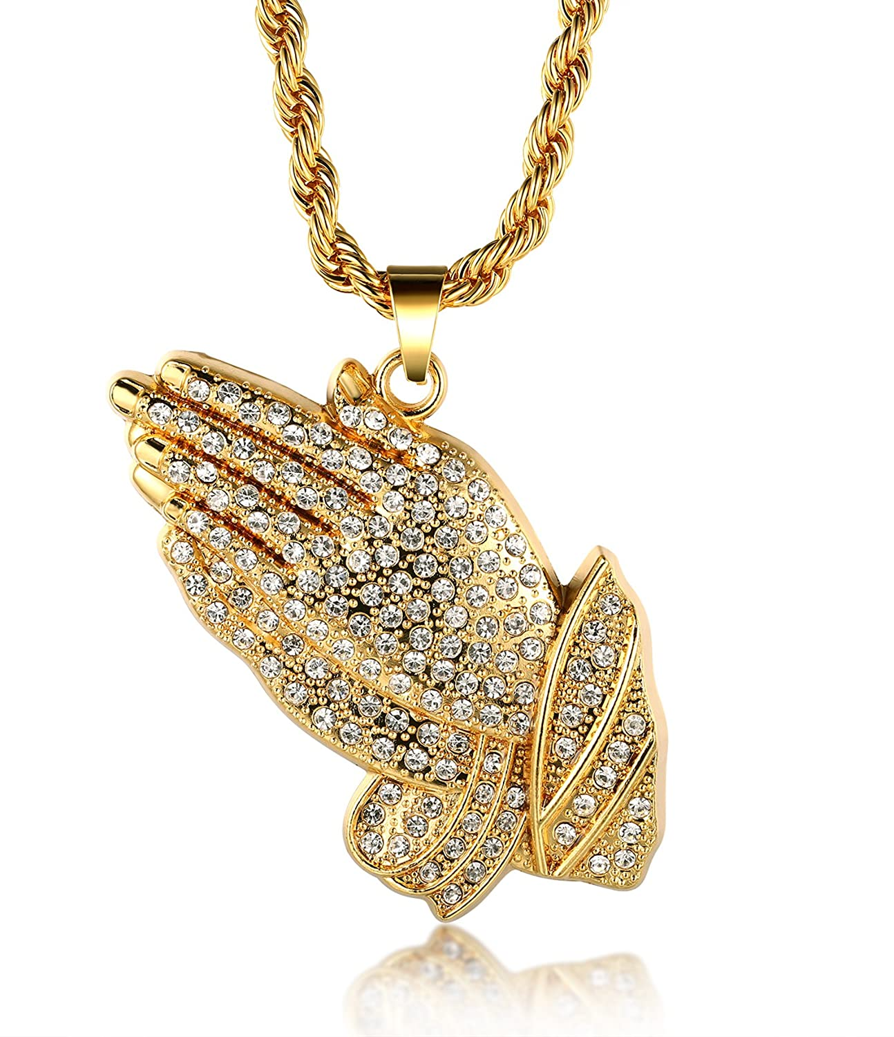 real necklace dp diamond amazon cut solid yellow com s men rope chain gold