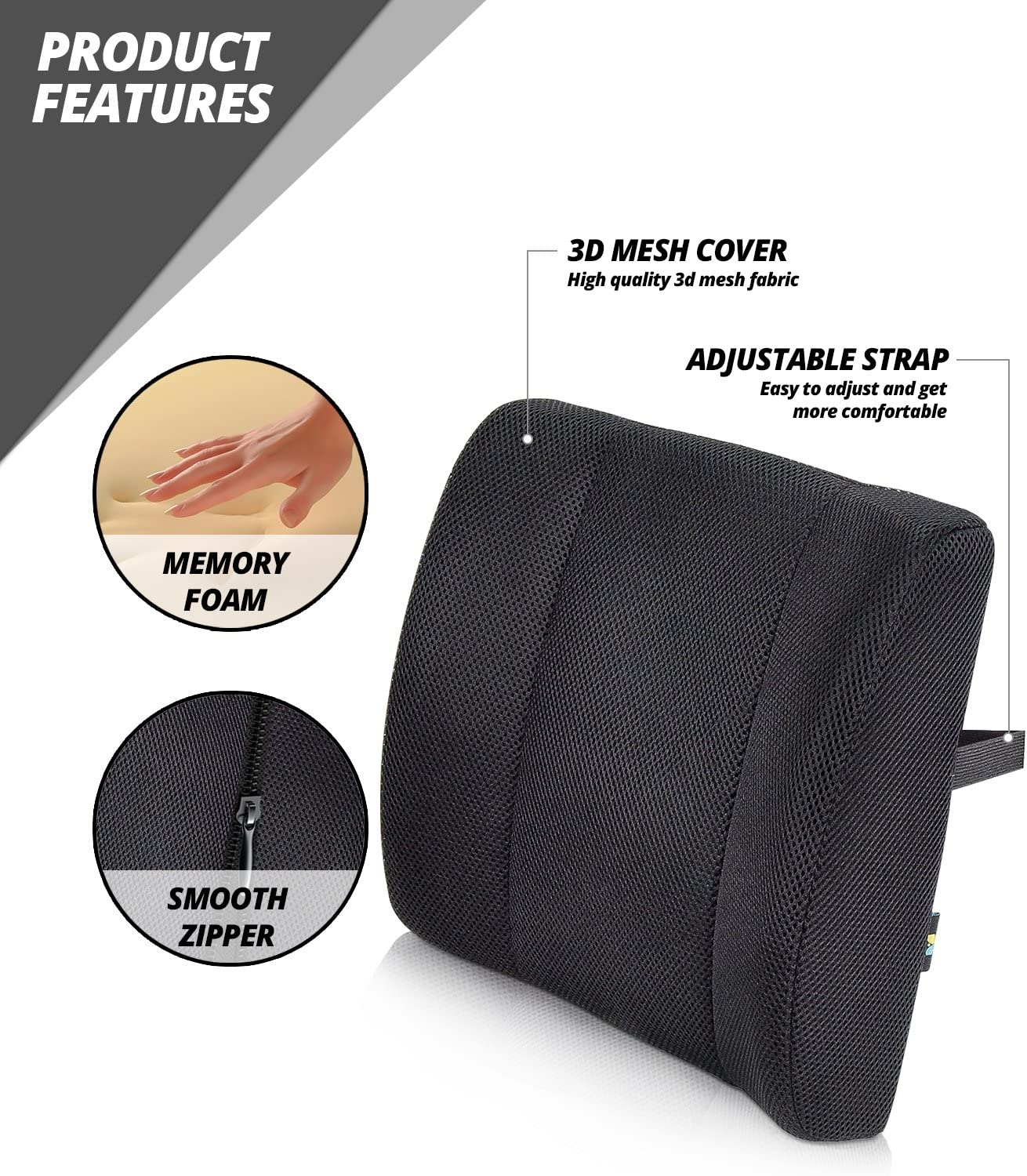 Lumbar Support Back Cushion Pillow Work Chair Back Support,Wheelchair Cushion with Straps, Sciatica and Pain Relief