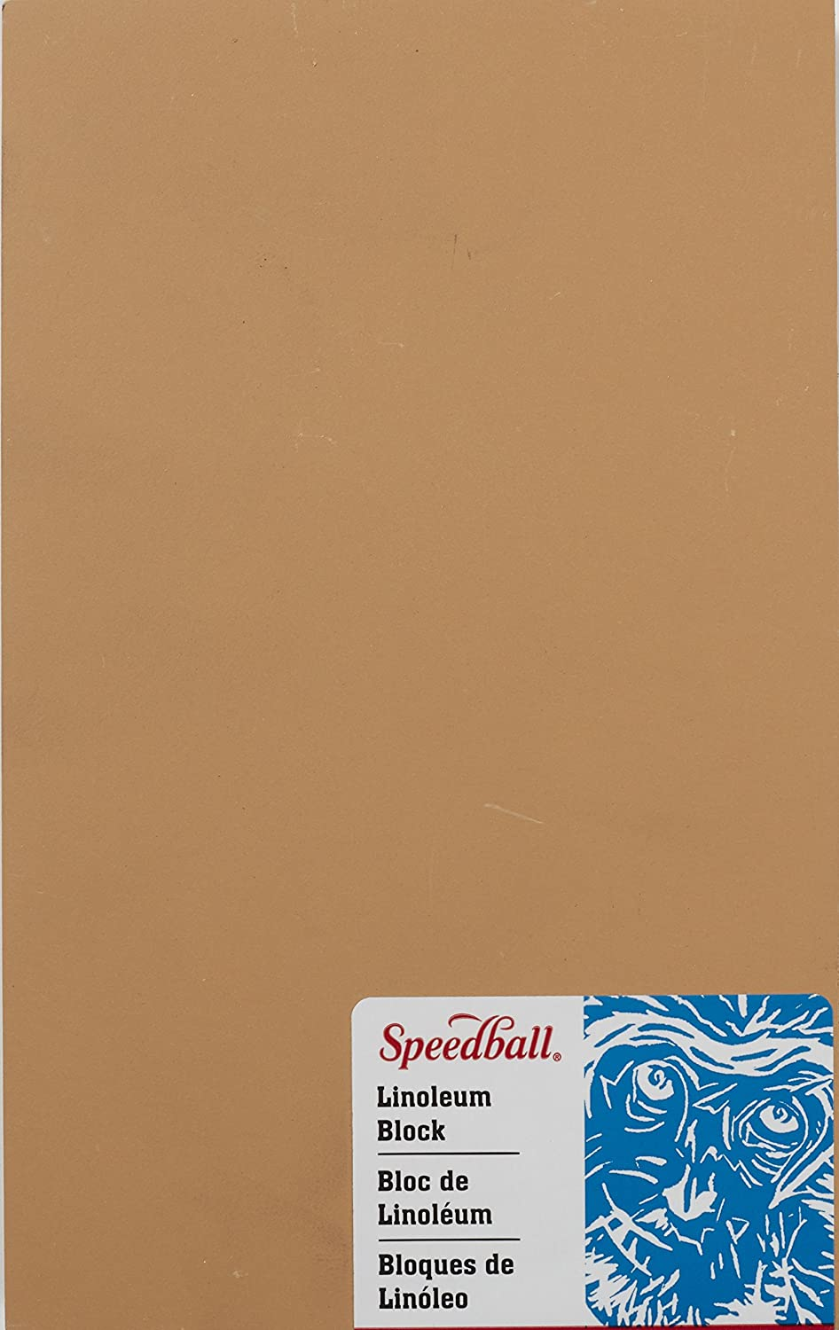 Speedball 4303 Premium Mounted Linoleum Block – Fine, Flat Surface for Easy Carving, Smoky Tan, 2 x 3 Inches School Specialty 410852