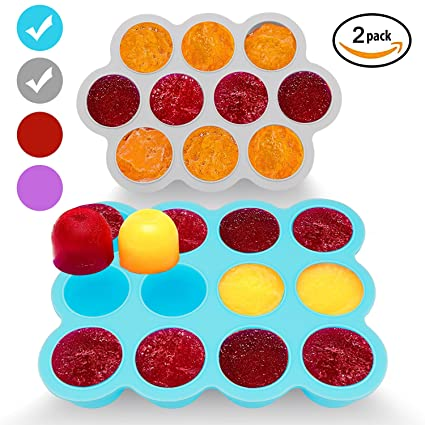 Silicone Freezer Tray for Baby Food Storage 2 Pack- Reusable Baby Food Storage Containers -