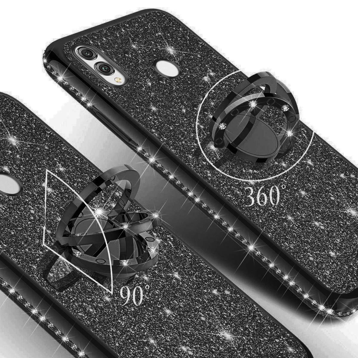 SainCat Coque Compatible avec Huawei Honor 8X Max Silicone Paillette Glitter Strass Ultra Slim Antichoc Support Anneau Ultra Resistante TPU Bumper Coque Placage-Noir