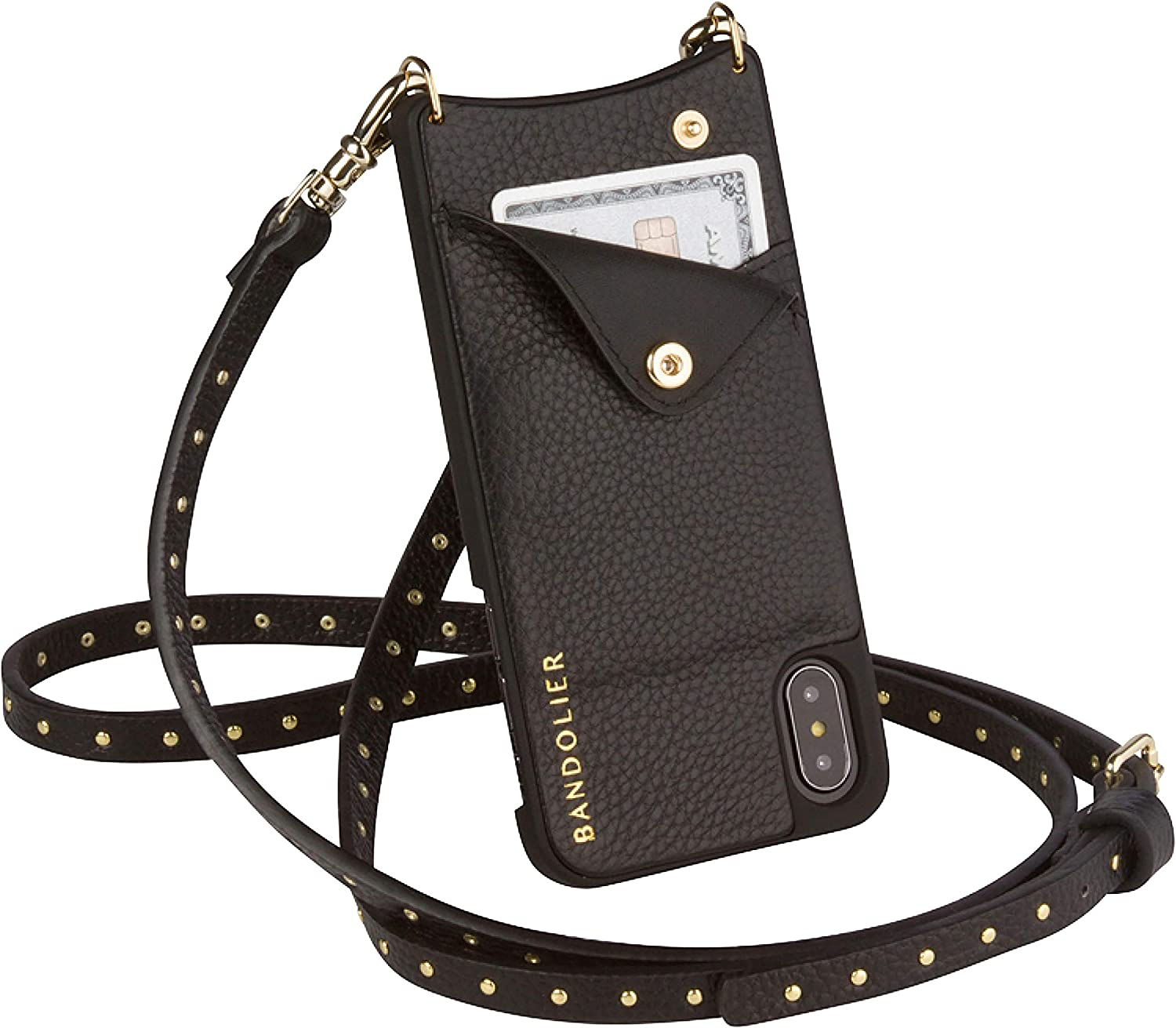 Bandolier Nicole Crossbody Phone Case and Wallet - Black Leather with Gold Detail - Compatible with iPhone 8 Plus, 7 Plus, 6 Plus, 6s Plus Only