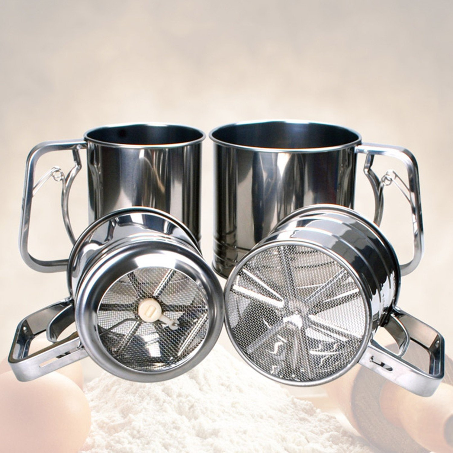 Convenient Flour Sifter Mug Shaped Large capacity Scale Show Dense Mesh Single-deck Coffee Sugar Powder Dusting Filtering Sieve Tool by Gogil (Image #3)