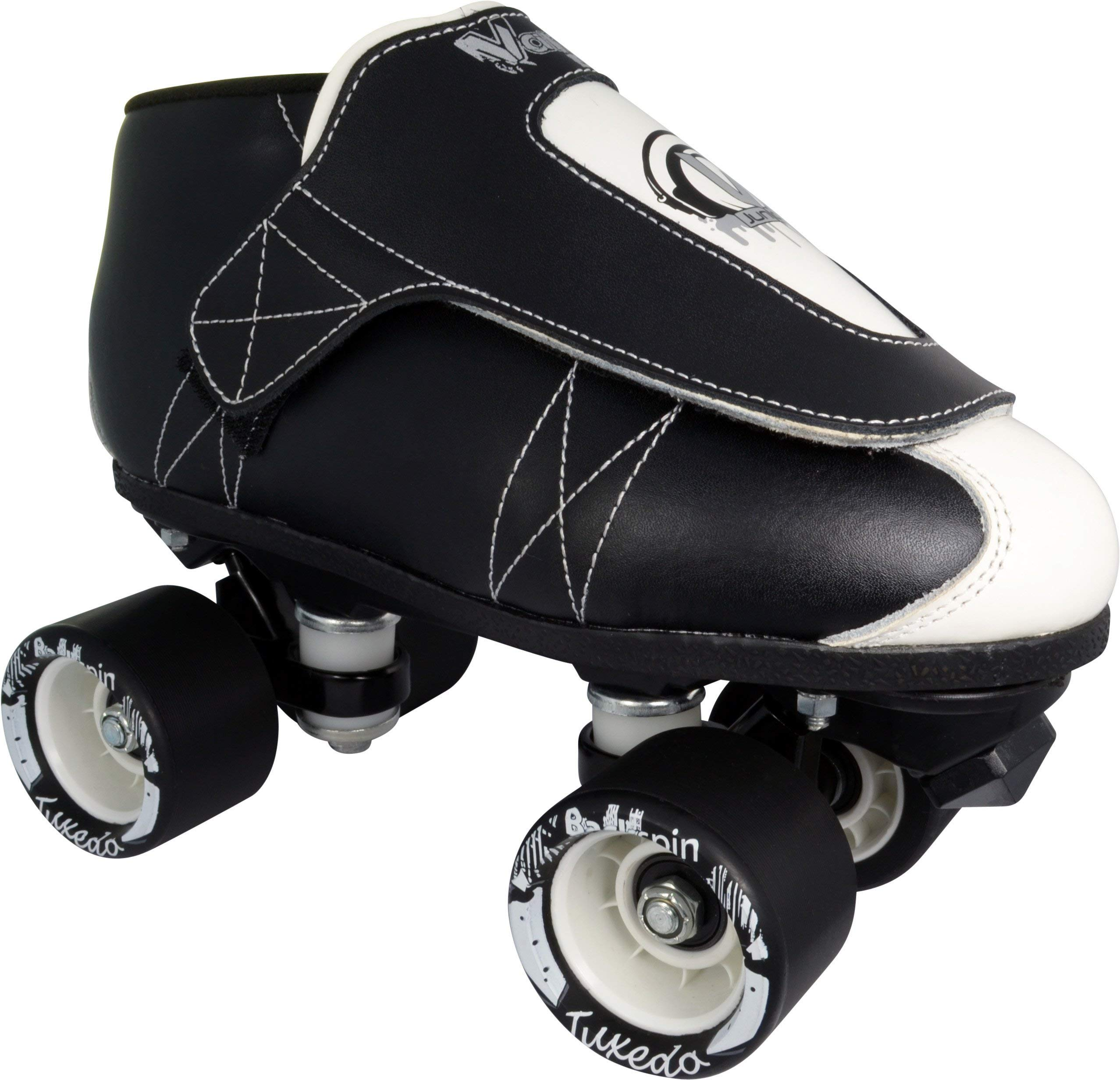 VNLA Tuxedo Jam Skate Mens & Womens Skates - Roller Skates for Women & Men - Adjustable Roller Skate/Rollerskates - Outdoor & Indoor Adult Skate - Kid/Kids Skates (Black/White)
