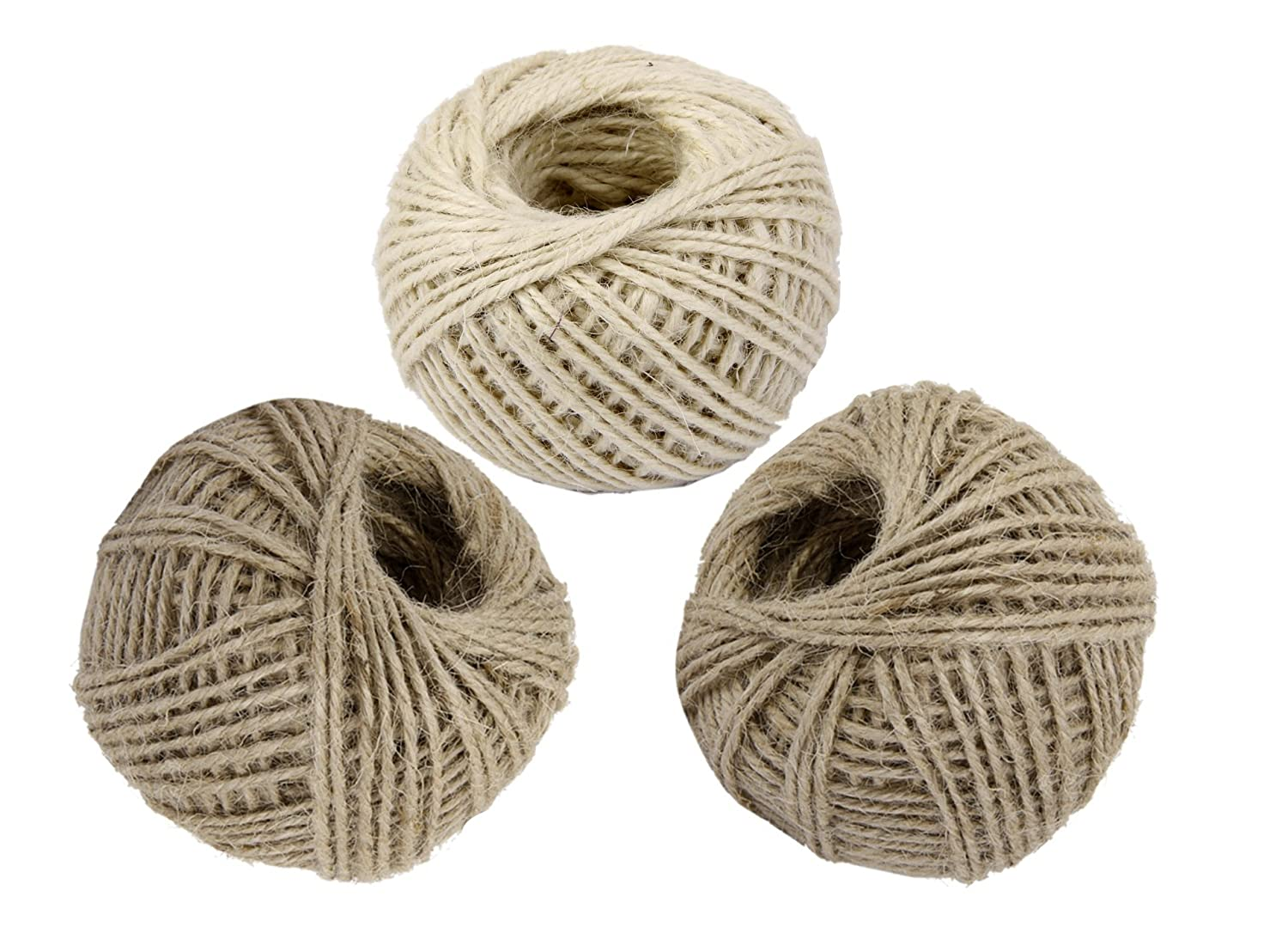 3 Roll 50M (Total 150M) Natural Jute Twine, Wrap Gift Thick Hemp Rope Jute Code String Ball for Floristry, Tags, Gifts, Greeting Card, DIY Arts&Crafts, Garden, Decoration and Recycling 2MM in Diameter(2 Brown, 1 White) YIRANFANTASY