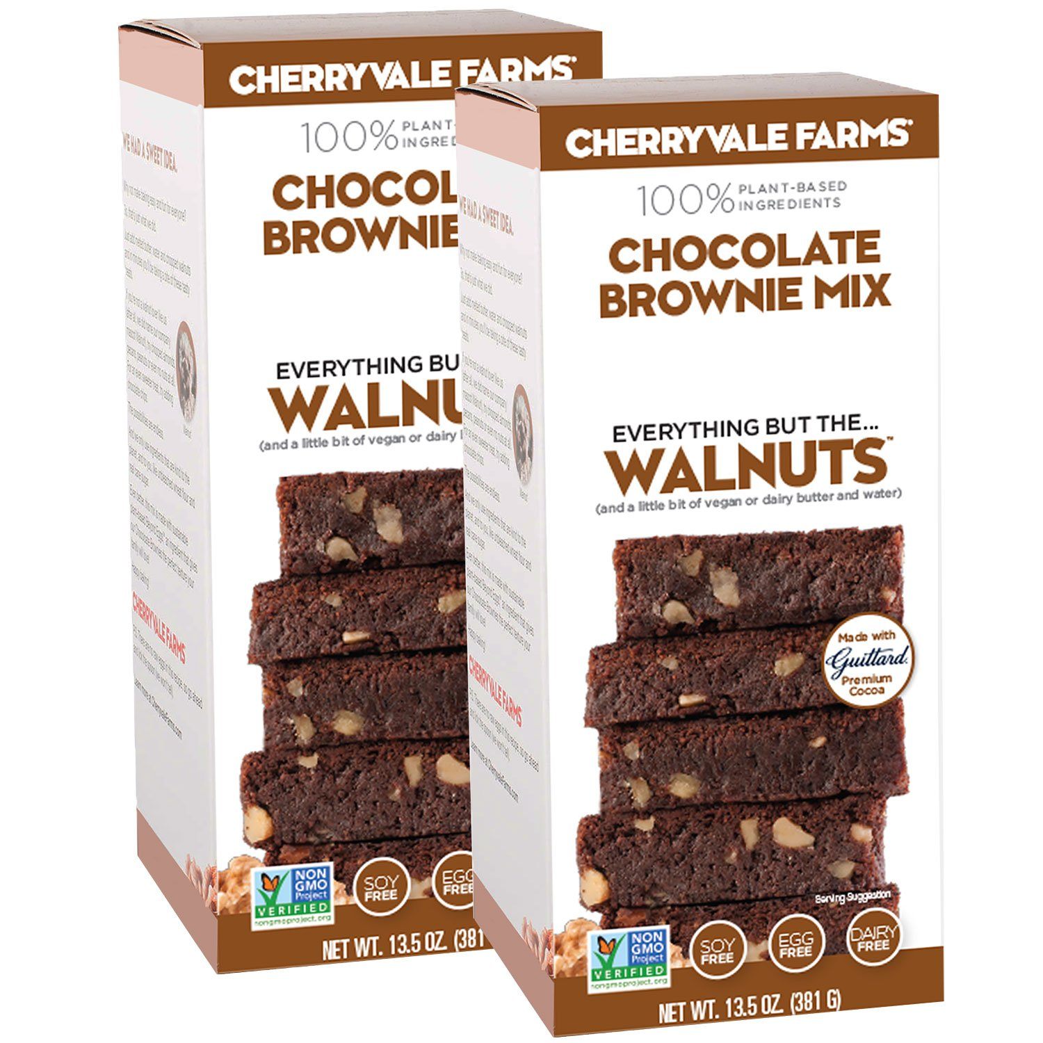 Cherryvale Farms, Chocolate Brownie Baking Mix, Everything But The Walnuts, Add Fresh Produce, Tastes Homemade, Non-GMO, Vegan, 100% Plant-Based, 13.5 oz (pack of 2)