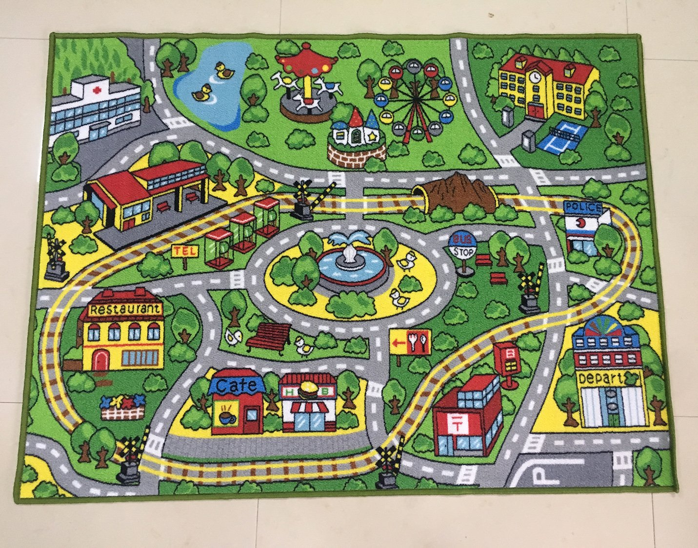 HUAHOO Large Kid Play Rug for Toy Cars,Safe and Fun Children Learning Carpet with Non-Slip Backing Kid Play mat for Playroom,Bedroom and Nursery (39'' x 51'')