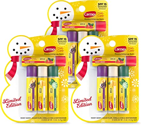 Carmex Daily Care Moisturizing Lip Balm Limited Edition Holiday Pack, Flavored Lip Balm in Sugar Plum, Vanilla Icing, Wintergreen and Merry Berry Pack of 4 Sticks (3)
