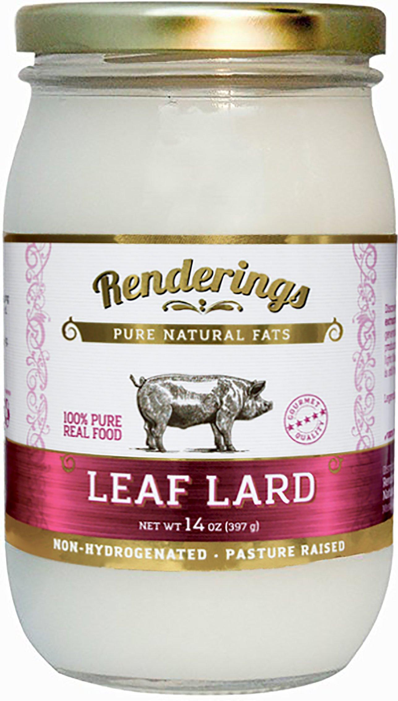 Renderings Gold Label Leaf Lard — Premium Non-Hydrogenated Leaf Lard — Pasture Raised — Cooking & Baking Oil — 14 oz jar