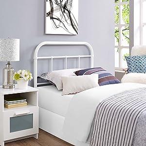 Modway MOD-5534-WHI Serena Rustic Farmhouse Style Steel Metal Twin Headboard Size in White,