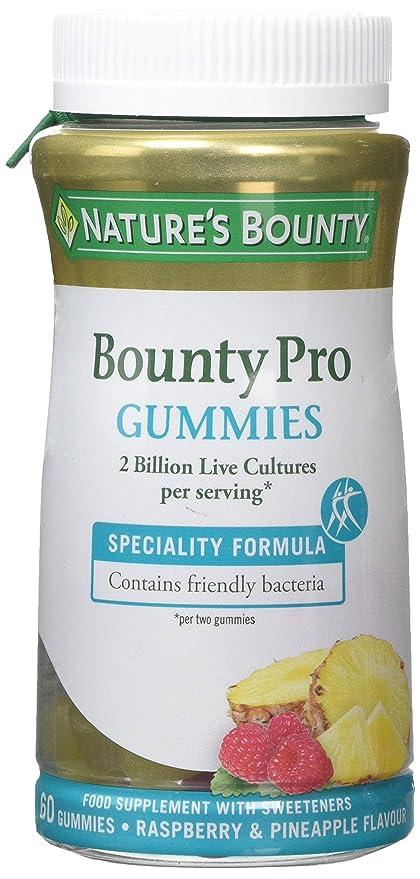 Natures Bounty. Bounty Pro Gummies. Contiene bacterias beneficiosas contribuyendo a una flora intestinal equilibrada
