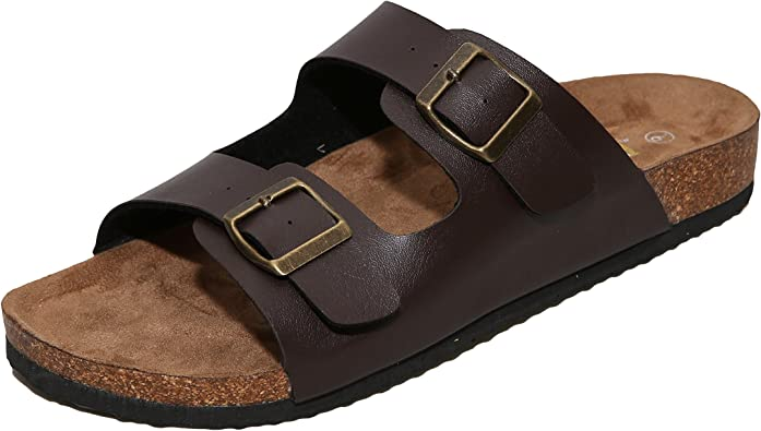 2-Strap PU Leather Platform Sandals