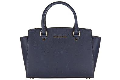 Michael Kors Women s MD TZ Satchel Top-Handle Bag Blue Blau (Navy ... 439ce1810