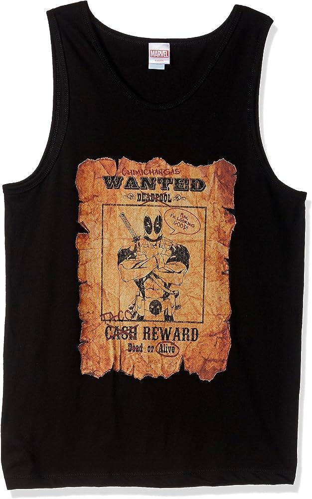 Marvel Official Wanted Deadpool - Camiseta sin mangas para hombre - Negro - Small: Amazon.es: Ropa y accesorios