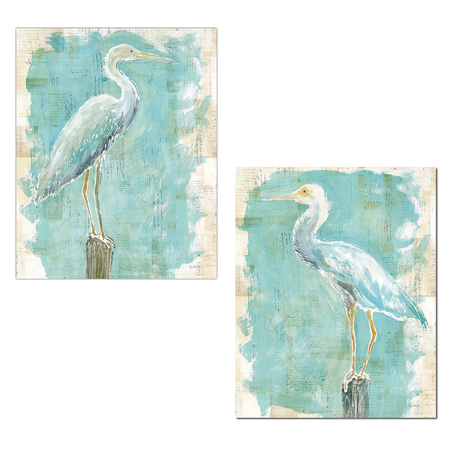 Gango Home Décor Lovely Watercolor-Style Coastal Egret Bird Prints by Sue Schlabach; Two 16x20in Fine Art Giclee Paper Prints