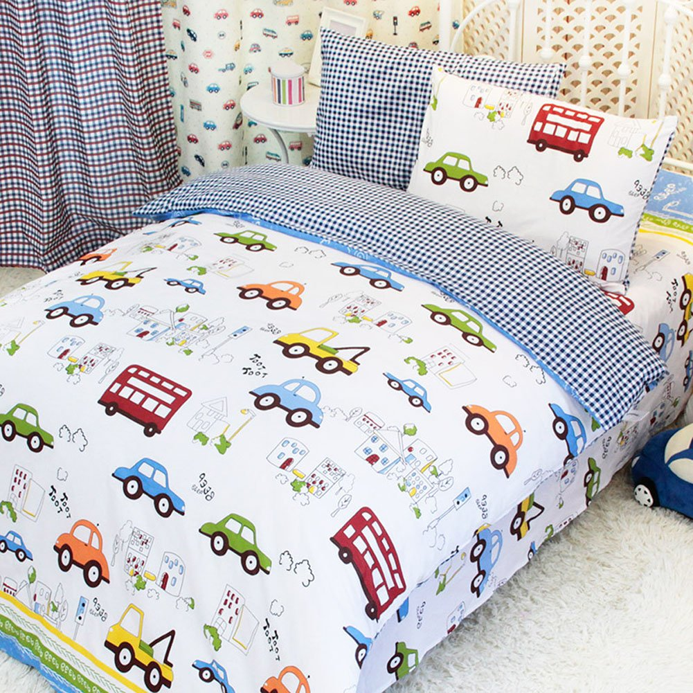 MeMoreCool Home Textile Cute Cartoon Cars Design Upscale 100% Cotton 4 Pieces Bedding Set Soft Quilt Covers for Boys and Girls Cartoon Bed Sheets Full Size