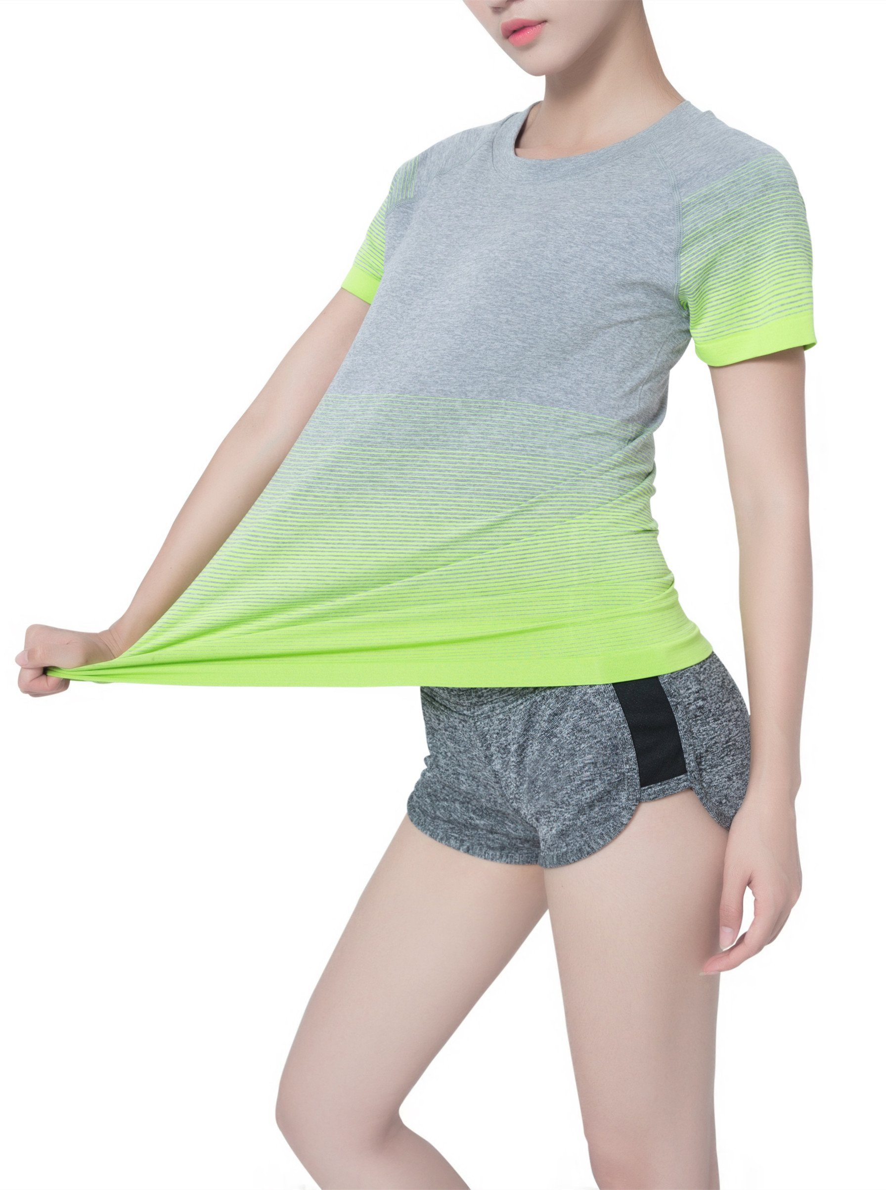 SLENDSHAPER Women\'s Moisture Wicking Sports Short Sleeve Tee Yoga Breathable Ultra Comfortable Running Fitness T-Shirts(xlarge, green and grey)