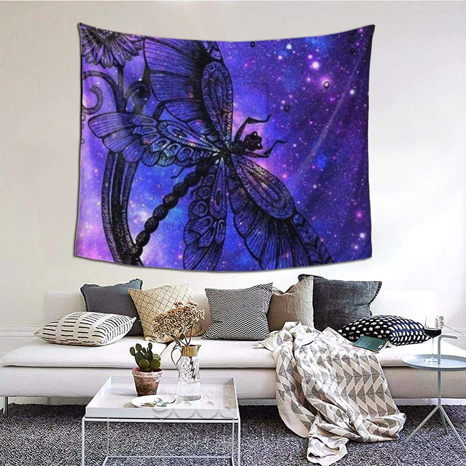 Tapestry, Bohemian Poster Tapestry Wall Hanging 51x60 Inch Boho Tapestry Hippie Hippy Purple Dragonfly Art Tapestry Beach Coverlet Curtain Queen Size for Yoga Room Office Decor