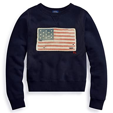 Polo Ralph Lauren Women s US American Flag Fleece Sweatshirt (Blue ... 73f4996a91