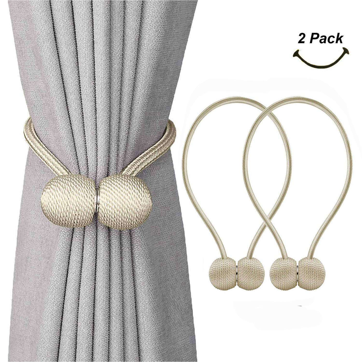 SmallDot Magnetic Curtain Tiebacks, 16 Inch Window Holdbacks Drapes Holders Hooks, Decorative Weave Rope Clips with Strong Magnet for Home Office Restaurant Décor, Pack of 2, Beige